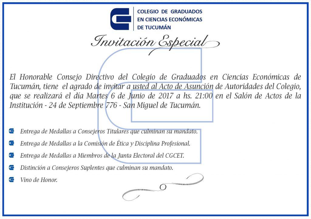Invitación Especial Al Acto De Asunción De Autoridades Del