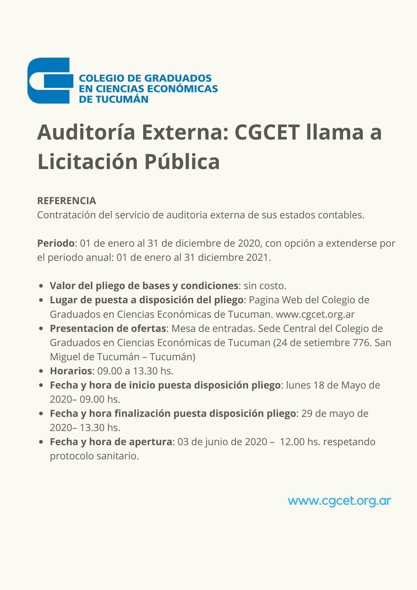 Auditoría Externa_ CGCET llama a Licitación Pública